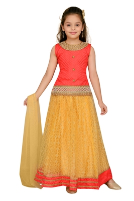Cream and peach   embroidered net stitched lehenga