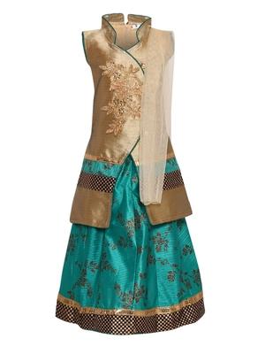Turquoise Embroidered Art Silk Stitched Lehenga