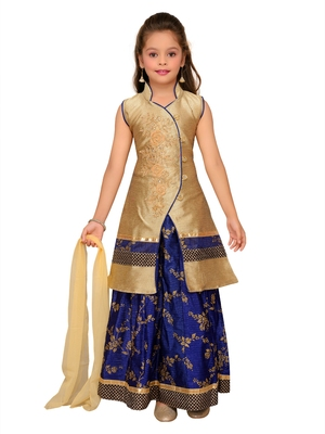 Blue Embroidered Art Silk Stitched Lehenga