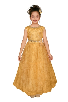 Gold Embroidered Nylon Kids-Girl-Gowns