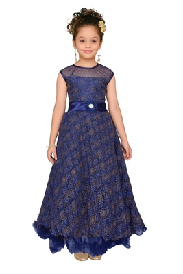Blue Embroidered Net Kids-Girl-Gowns