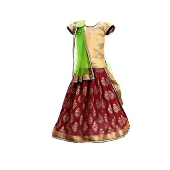Red printed cotton stitched lehenga