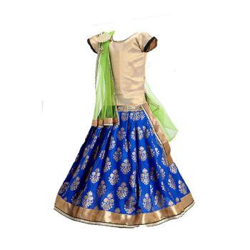 Blue printed cotton stitched lehenga