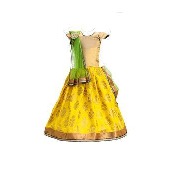 Yellow printed cotton stitched lehenga