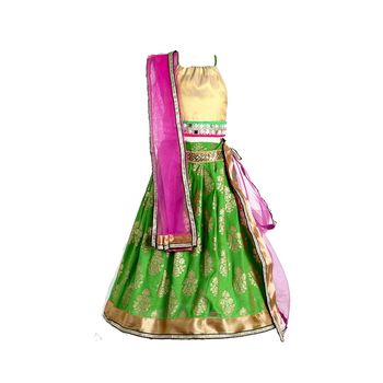 Green printed cotton stitched lehenga