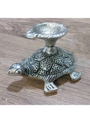 Auspicious tortoise diya/candle stand in white metal for home décor/gift items/showpiece