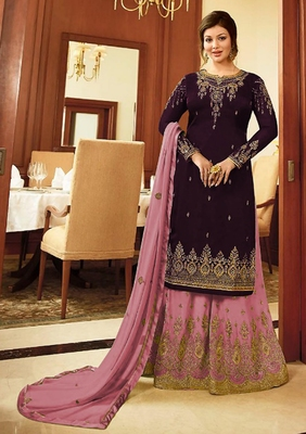 Wine embroidered faux georgette salwar with dupatta