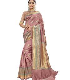 Pink woven banarasi saree with blouse