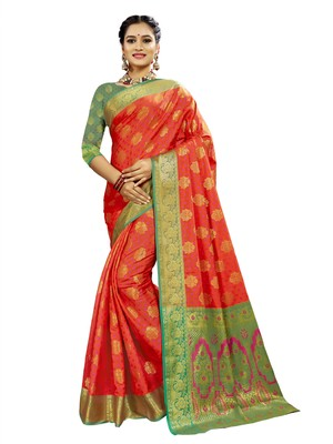 Pink woven patola saree with blouse