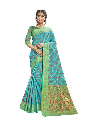 Turquoise woven patola saree with blouse