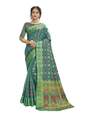 Green woven patola saree with blouse