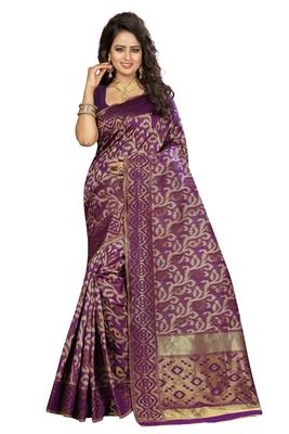 Wine silk blend saree with blouse
