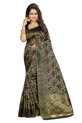 Black silk blend saree with blouse