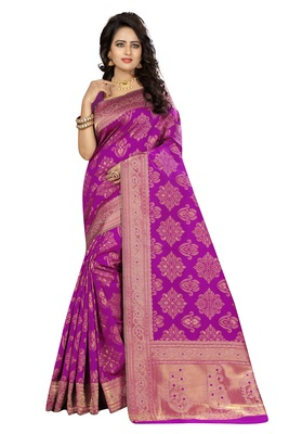 Pink silk blend saree with blouse