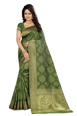Mehendi silk blend saree with blouse