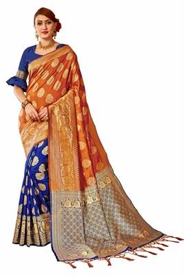 Blue plain art silk sarees saree with blouse