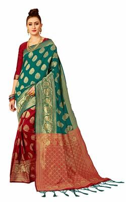 Red plain art silk sarees saree with blouse