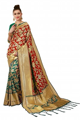 Green plain art silk sarees saree with blouse