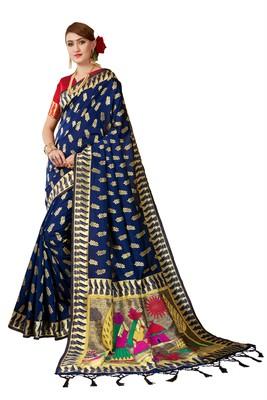 Navy blue plain art silk sarees saree with blouse