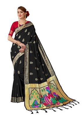 Black plain art silk sarees saree with blouse