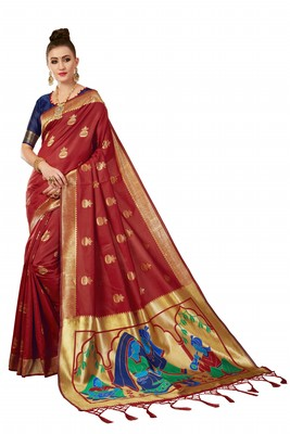 Red plain art silk sarees saree with blouse