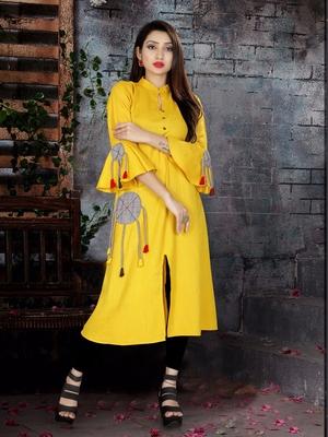 Yellow  plain viscose rayon kurti