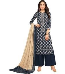 Blue Chanderi Cotton Women's Unstitched Palazzo Suit