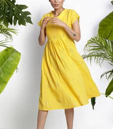 YELLOW HANDWOVEN KURTA WITH PLEATS cotton-kurtis