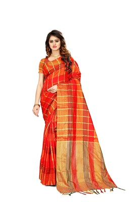 544863c9efa6c Red plain art silk saree with blouse - Shoppershopee - 2829190