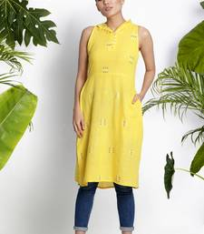 YELLOW SLEEVELESS HANDWOVEN KURTA WITH BUTTONS cotton-kurtis