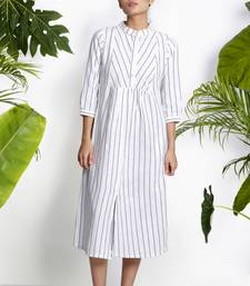 WHITE HANWOVEN KURTA WITH STRIPES cotton-kurtis