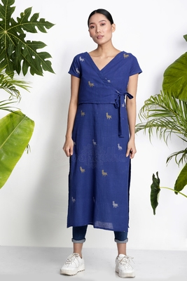 BLUE HANDWOVEN KURTA WITH OVERLAPPED FRONT