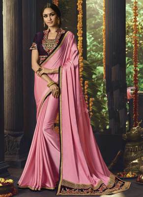 Baby pink embroidered art silk saree with blouse