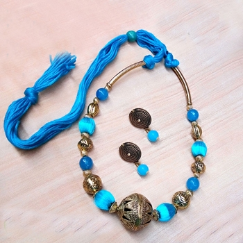 Blue Rounded Antique Necklace Sets