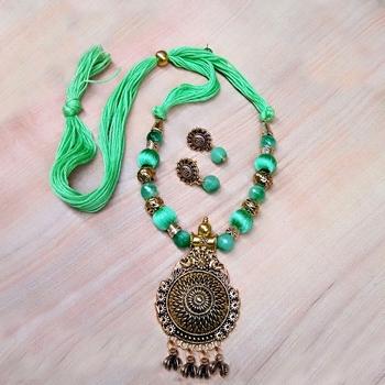 Light Green Antique Necklace Sets