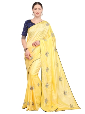 Light yellow embroidered art silk saree with blouse