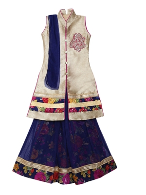 Blue printed net stitched lehenga