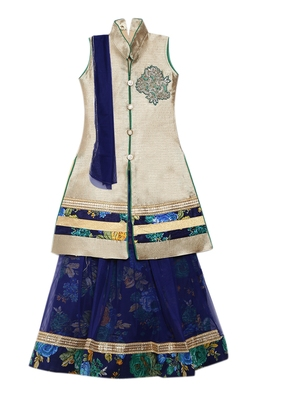 Blue printed net stitched lehenga