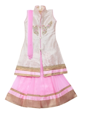 Baby-pink embroidered net stitched lehenga