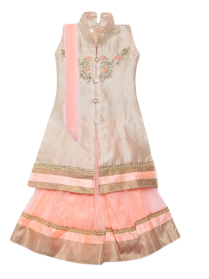 Light-peach embroidered net stitched lehenga