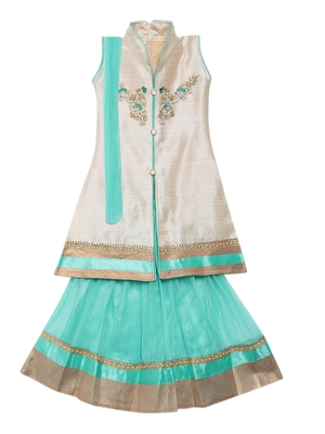 Light-sea-green embroidered net stitched lehenga