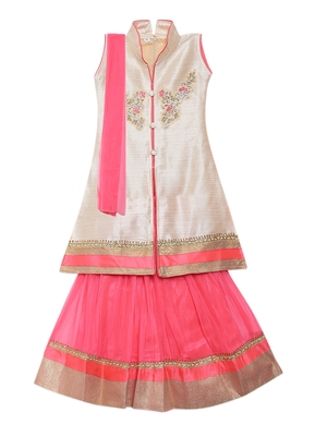 Baby pink embroidered net stitched lehenga