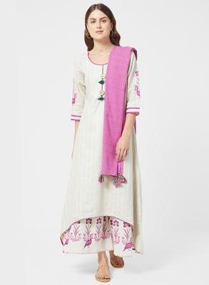 Pink printed jute salwar with dupatta