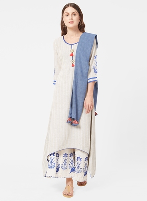 Blue printed jute salwar with dupatta