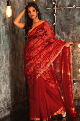 9823ebb6e8 RED HAND WOVEN MATKA SILK HANDLOOM SAREE WITH BLOUSE - ROOPKATHA - 2829710