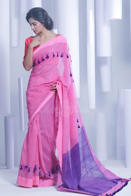 Pink hand woven pure cotton handloom saree with blouse