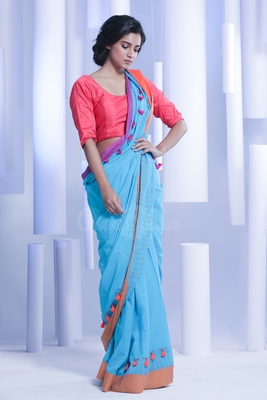 Blue hand woven pure cotton handloom saree with blouse