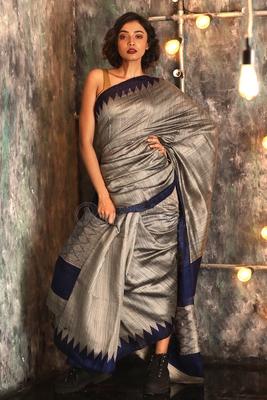 Grey hand woven matka silk handloom saree with blouse