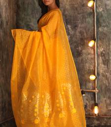 Yellow hand woven blended cotton handloom saree with blouse