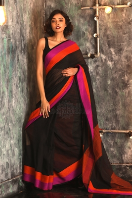 Black hand woven pure cotton handloom saree with blouse